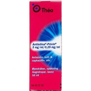 Antistina-privin 0,25 mg/ml + 5 mg/ml (Håndkøb, apoteksforbeholdt) 10 ml Øjendråber, opløsning