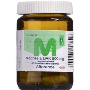 "Magnesia ""DAK"" 500 mg 40 stk Filmovertrukne tabletter"