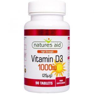 Natures Aid Vitamin D3 - 25 mcg - 90 Tabletter